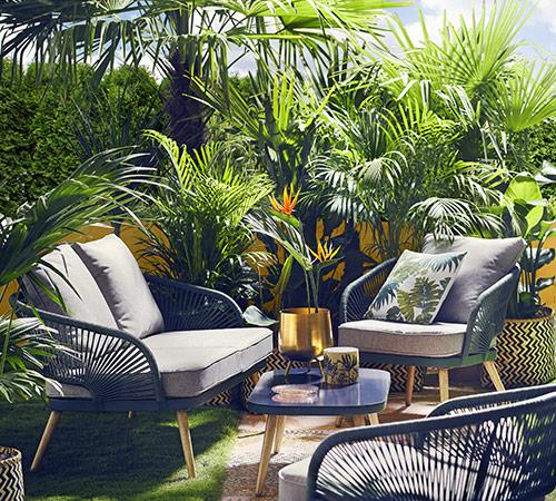 Ogród tropikalny w stylu safari lodge